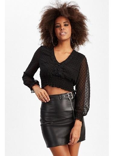 Manche Bluz Siyah